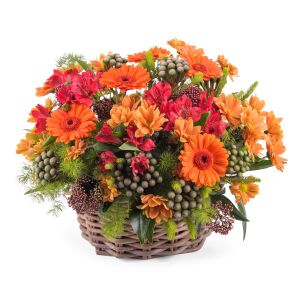 Basket arrangement of mixed flowers
