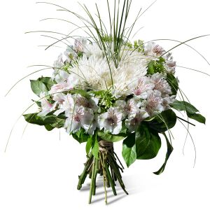 Condolence bouquet in white shades